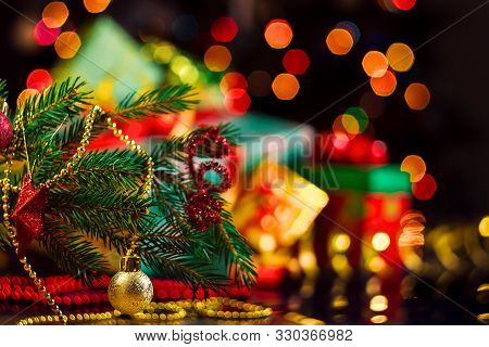 Decorated Wreath, Decor For Christmas Tree, Balls Are On Table. Colorful Presents, Gifts, Festive De