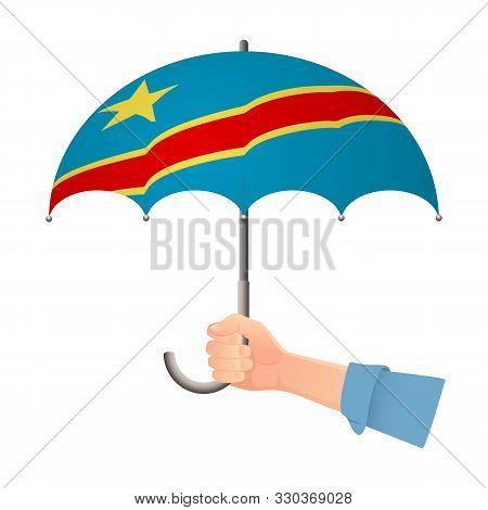 Democratic Republic Of The Congo Flag Umbrella. Weather Symbols. National Flag Of Democratic Republi