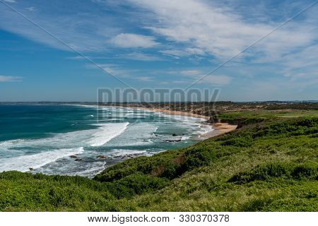 The Famous Woolamai Surf Beach On Phillip Island In Victoria, Australia, On A Partially Cloudy Day W