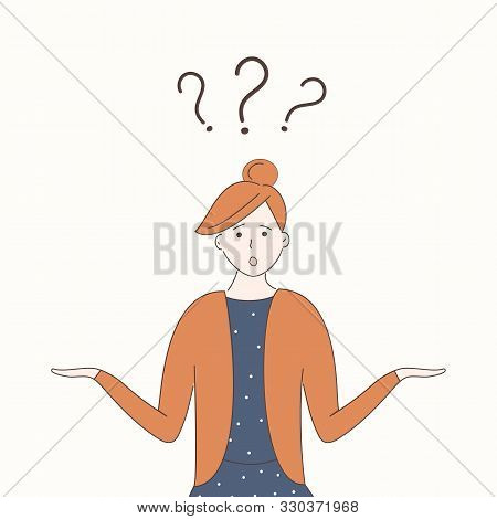 poster of A cute girl in blue dress shrugs with naive curious funny face and arms apart. Three question marks above her head.The concept of woman in search of an answer to a complex question.Vector.Hand drawn