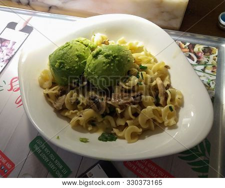 Goteburg, Sweden - Circa August 2017: Campanelle Pasta In A Dish With Mushroom Sauce And Avocado In