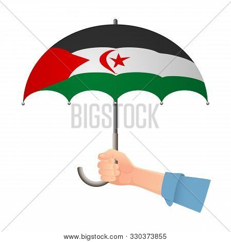 Sahrawi Arab Democratic Republic Flag Umbrella. Weather Symbols. National Flag Of Sahrawi Arab Democ