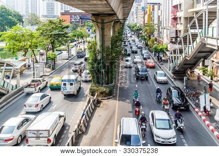 Bangkok, Thailand - 23rd March 2018: Heavy Traffic On Sukhumvit Road. The City Experiences Serious T
