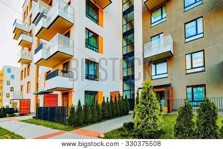Modern Residential Apartments With Flats Building Exterior With Outdoor Facilities