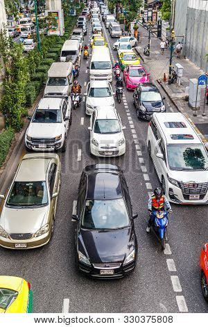 Bangkok, Thailand - 23rd March 2018: Heavy Traffic On Sukhumvit Road. The City Often Becomes Grid Lo