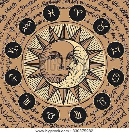 Vector Circle Of The Zodiac Signs In Retro Style With Icons, Decorated With Hand-drawn Sun And Cresc