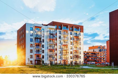 Modern Residential Apartments With Flats Building Exterior And Outdoor Facilities