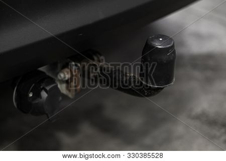 Novosibirsk, Russia - September 11, 2019: Hyundai Tucson , Black Car  Tow Hitch.view Of The Vehicle