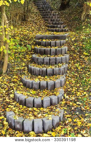 Autumn Stair Path, Scene With Stone Steps Stairs In Autumn Forest. The Stair Path In Autumn. Beautif