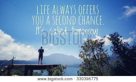 Inspirational Quote - Life Always Offers You A Second Chance. It Is Called Tomorrow. Young Man Silho