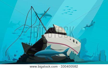 Scuba Diver Descends Into Ocean To Explore Sunken Shipwreck On Bottom Underwater Background Composit