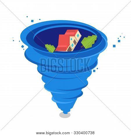 Hurricane Whirlwind, Tornado, Typhoon Isometric Concept. Vector Illustration
