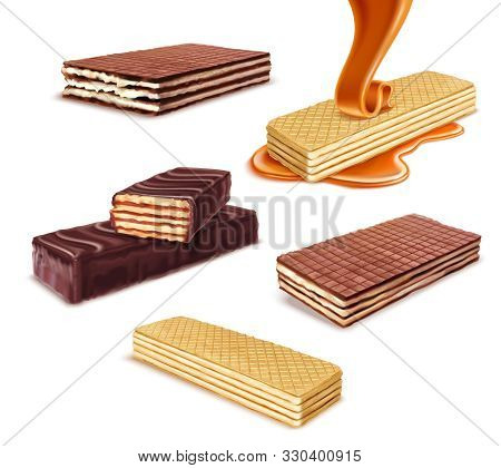 Wafer Realistic Set On Blank Background With Isolated Images Of Wafers With Different Taste And Flav