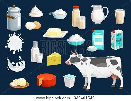 Milk Product Vector Icons Of Dairy Food And Drink Design. Yogurt Bottle, Glass And Cheese, Cow Anima