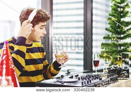 Live Concert Event Deejay Party, One Man Dj Show Edm Music City Background. Portrait Professional Pe