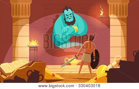 Ancient mythical creatures flat composition with huge green monstrous spirit rising above warrior with sword vector illustration poster