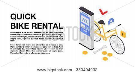 Quick Bike Rental Concept Banner. Isometric Illustration Of Quick Bike Rental Vector Concept Banner