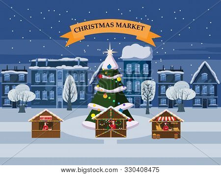 Christmas Village, Winter Town, Souvenirs Market Stalls With Decorations Souvenirs And Bakery. Big C