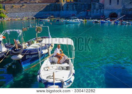 Vernazza, Italy - September 14, 2019: Boat Driver At Beach In Vernazza Town, Cinque Terre National P