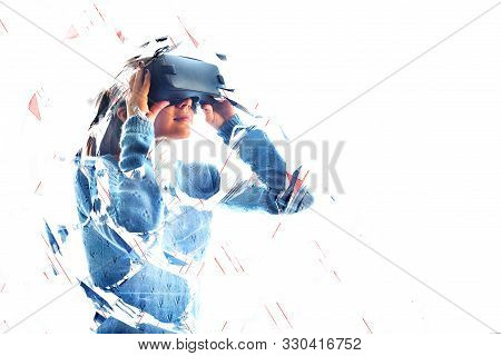 The Woman With Glasses Of Virtual Reality. Future Technology Concept. Modern Imaging Technology. Vr
