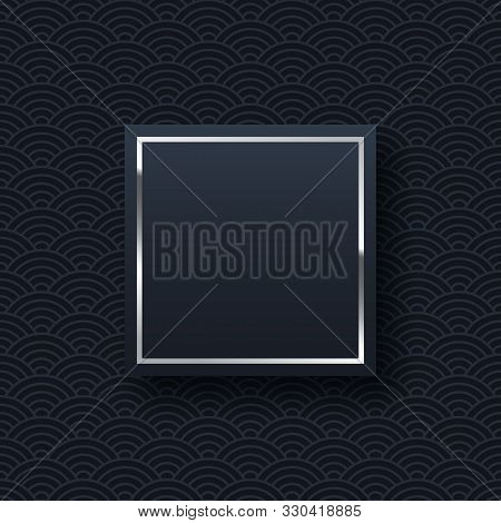 Silver Frame Minimalistic Template With Text Space. Elegant Square Border With Shiny Gradient Effect