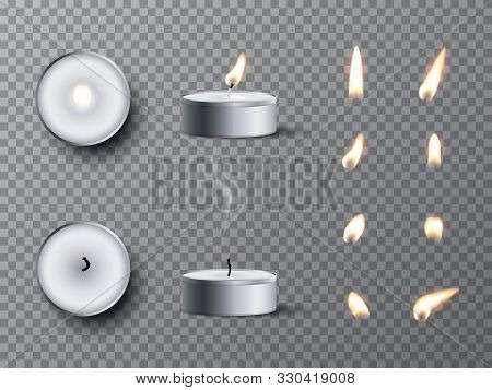 Vector Realistic Tea Candle With Fire, Extinguished Candle With Smog And Candle Fire Set Isolated On