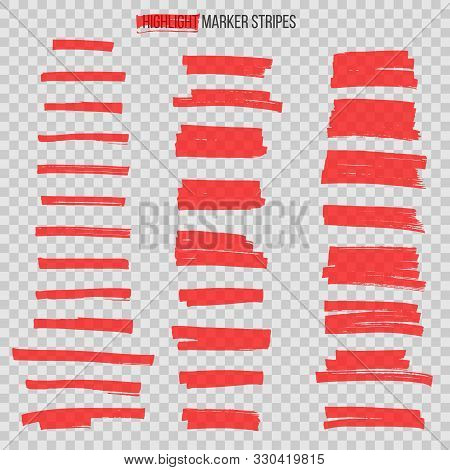Red Semitransparent Highlight Marker Stripes Isolated On Transparent Background. Vector Design Eleme