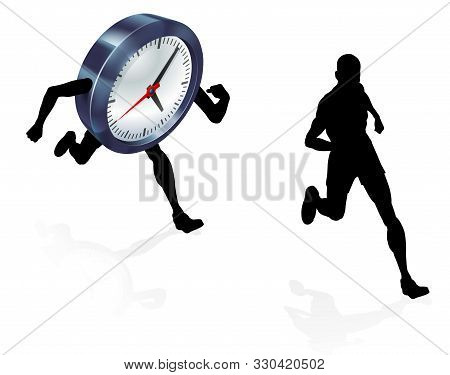 A Man Running From A Clock Or Racing It Concept For Time Pressure Or Work Life Balance, Being Stress