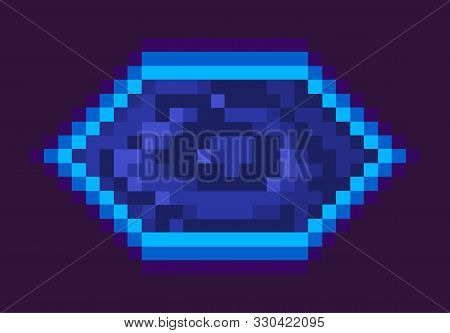Portal Prize, Space Pixel Game, Flat Design Style Of Gantry In Blue Color, Pixelated Squared Prize,