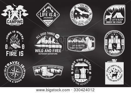 Set Of Outdoor Adventure Quotes On The Chalkboard. Vector. Concept For Shirt Or Logo, Print, Stamp T