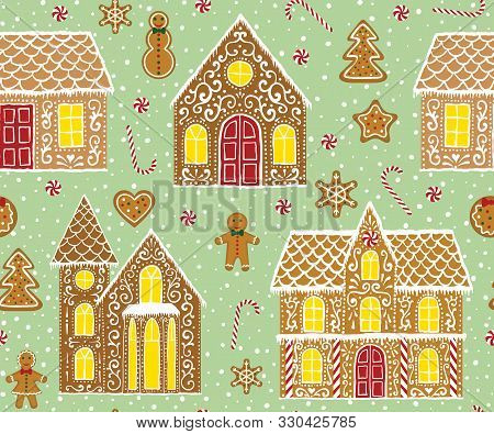 Christmas Gingerbread Seamless Pattern With Gingerbread Houses On Green Background