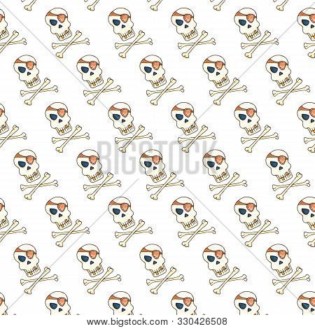 Jolly Roger With Eyepatch Logo Template. Evil Skull Watercolor Illustration. Seamless Pattern On Whi