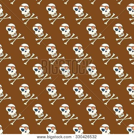 Jolly Roger With Eyepatch Logo Template. Evil Skull Watercolor Illustration. Seamless Pattern On Bro