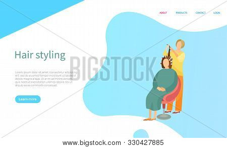 Hair Styling Screen Of Website With People. Hairdresser Making Hairdo For Woman. Sitting Client With