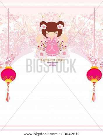 Kokeshi doll on the pink background with floral ornament poster
