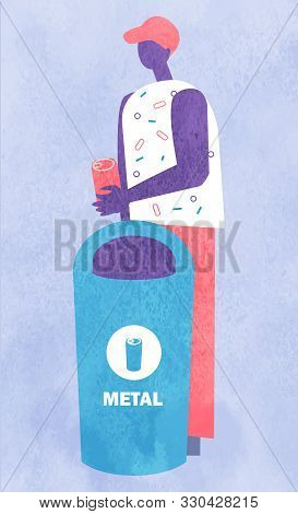 Person Character Holding Rubbish, Garbage Sorting. Man Putting Metal Pollution In Container, Utiliza