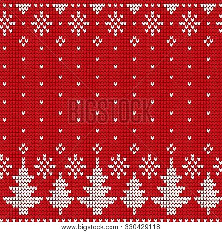 Xmas Ornaments Fir-tree And Snowflake On Red Textile. Postcard Or Cover For Present With Christmas E