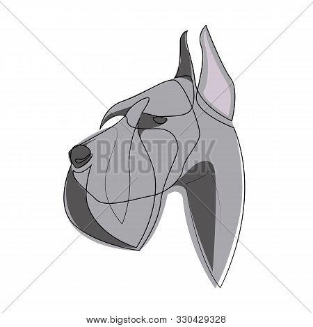 Continuous Line Giant Schnauzer. Single Line Minimal Style Riesenschnauzer Dog Vector Illustration
