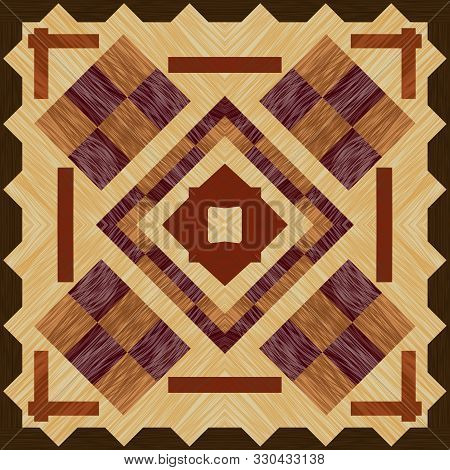 Wooden Inlay, Light And Dark Wood Patterns. Wooden Art Decoration Template. Veneer Textured Geometri
