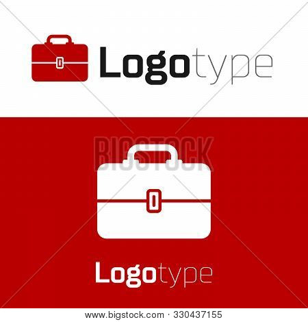 Red Toolbox Icon Isolated On White Background. Tool Box Sign. Logo Design Template Element. Vector I