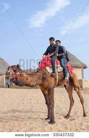Bikaner, India - January 12, 2019: Tourists Riding On Camel In Tahr Desert In Rajasthan, India