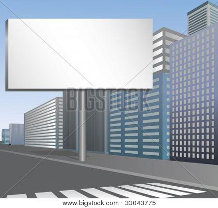 Blank Billboard on City Street