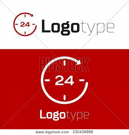 Red Clock 24 hours icon isolated on white background. All day cyclic icon. 24 hours service symbol. Logo design template element. Vector Illustration poster