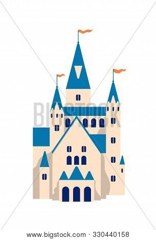Medieval Castle Flat Vector Illustration. Cartoon Fairytale Fortress. Princess Residence, Royal Pala