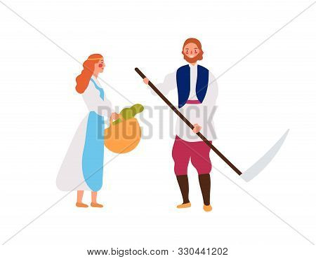 Medieval Peasant Family Flat Vector Illustration. Rustic Young Girl With Basket And Man With Hand Sc