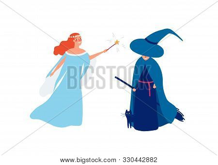 Fairy And Sorceress Flat Vector Illustration. Young Smiling Girl With Magic Stick And Angry Witch Ca