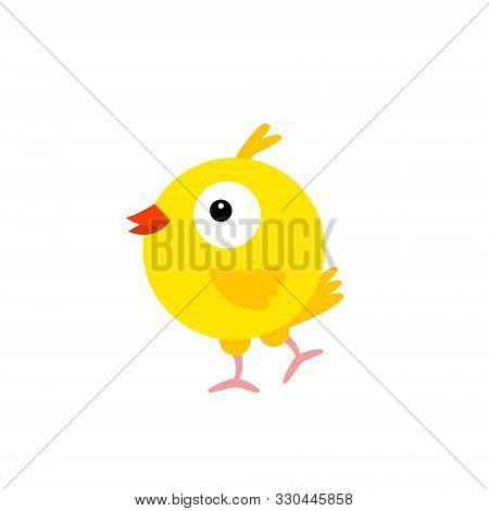 Cheerful Bird Yellow Canary. Cartoon Character Feathered. Vector