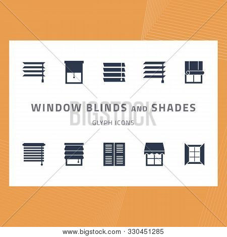 Vector Glyph Isolated Icons Set Window Blinds And Shades. Window Treatments And Curtains Glyph Icons