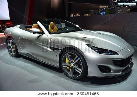 Geneva, Switzerland - March 05, 2019: Ferrari Portofino Cabrio - Geneva International Motor Show 201