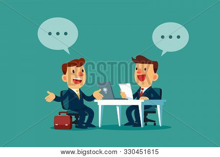 Businessman With Dialogue Bubble Having A Job Interview In The Office. Business Recruitment Concept.